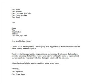 example resignation letter email resignation letter example pdf free download