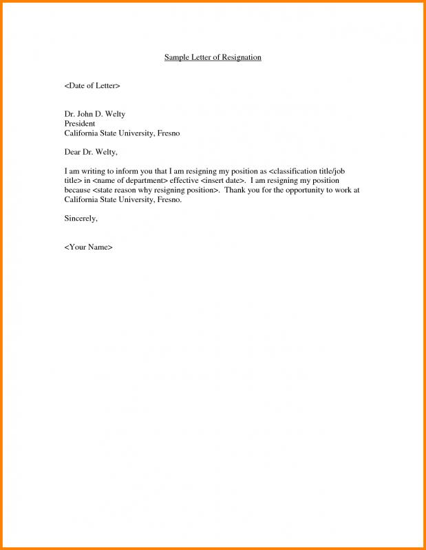 example resignation letter