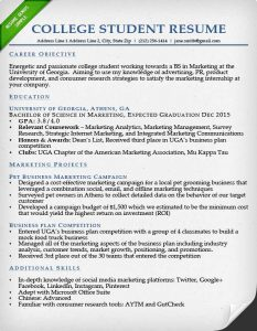 example student resume college student resume sample