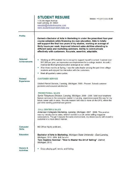 example student resume