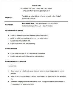 example student resume sample student internship resume