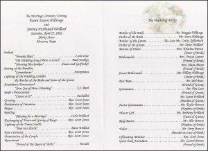 example wedding programs the wedding printer