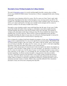 examples of descriptive essays descriptive essay writing examples for college students