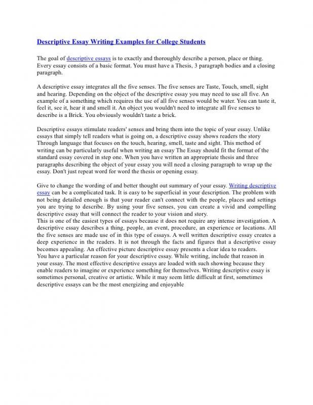 examples of descriptive essays