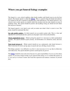 examples of eulogies where you get funeral eulogy examples