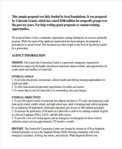 examples of grant proposals non profit grant proposal