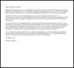examples of letter of resignation corporate officer resignation letter