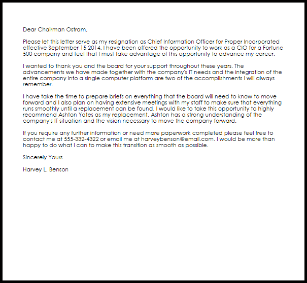 examples of letter of resignation