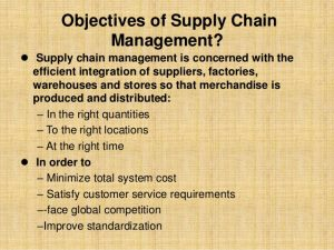 examples of life goals objectives of supply chain management