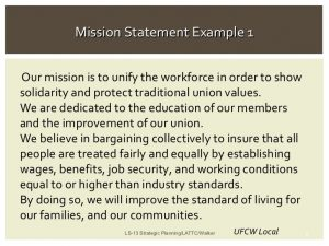 examples of mission statements union leadership strategic planning