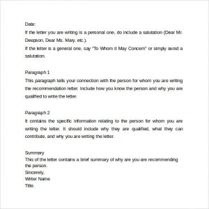 examples of reference letters recommendation letter format example