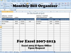 excel bill tracker monthly bill organizer bill tracker calculates total due for st nd half of the month ca