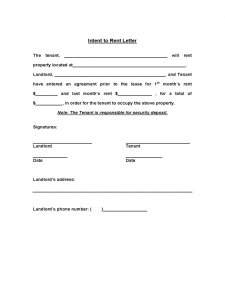 excel form templates intent to rent template d