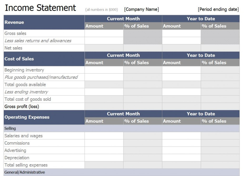 excel income statement