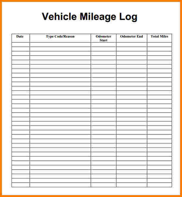 excel mileage log