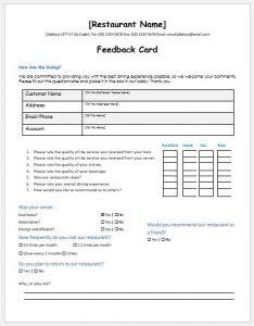 excel order form template restaurant customer feedback form