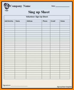 excel sign in sheet sign in sheet template excel sign up sheet template