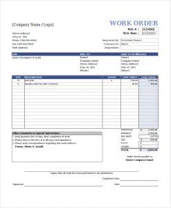 excel work order template free work order template excel