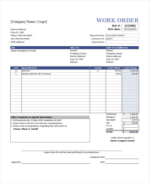 excel work order template