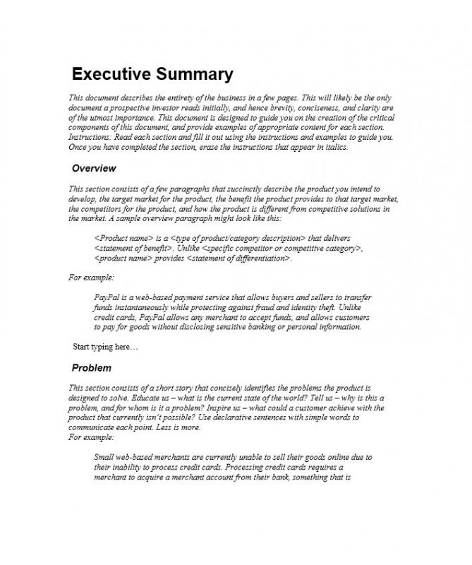 Executive Summary Template