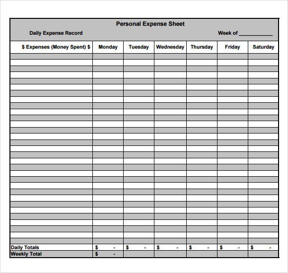 expense sheets templates