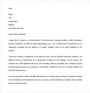 expository essay format admissions counselor cover letter example