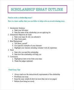expository essay format scholarship outline