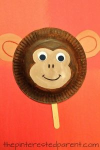 face mask template paper plate monkey mask craft for kids