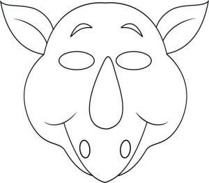 face mask template vbs jungle animal mask rhino bw