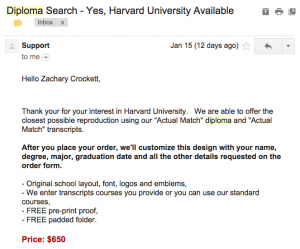 fake college acceptance letter screenshot at am