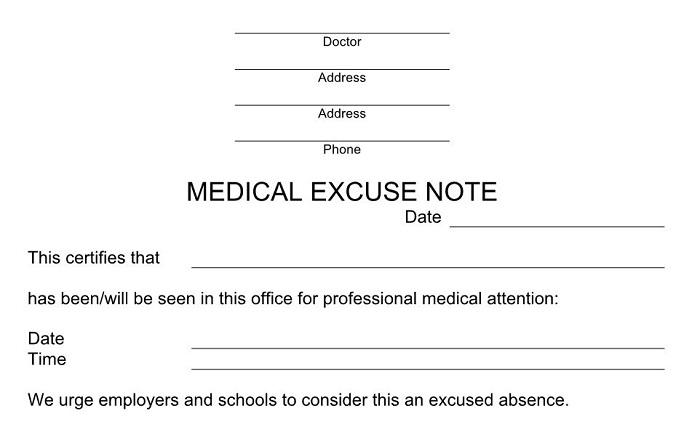 fake doctors excuse