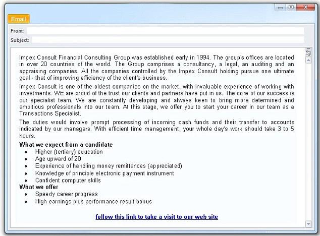 fake job offer emails