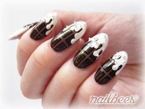 fall nails designs white chocolate drip nail art design