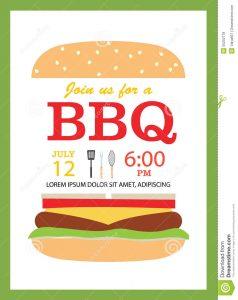 family reunion invites bbq party invitation card hamburger cooking tools vect