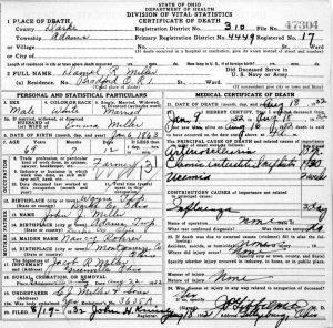 family tree outline daniel r miller death certificate
