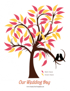 family tree printable wedding leaves tree