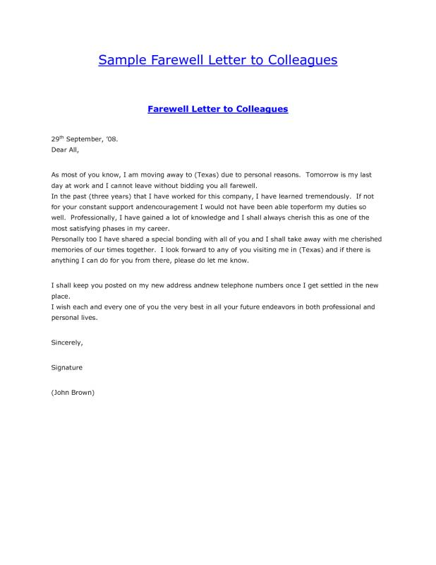 Farewell Email To Coworkers | Template Business