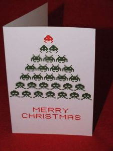 fashion business cards space invaders christmas card
