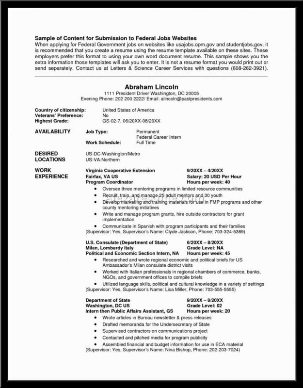 federal resume example