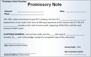 fill in the blank promissory note promissory note template word