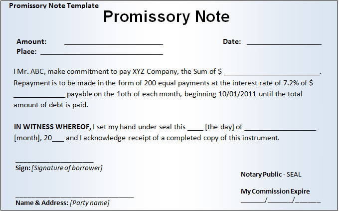 fill in the blank promissory note