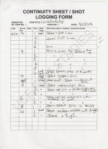 film script example continuity log pg