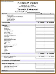 financial statement templete financial statement template income statement template