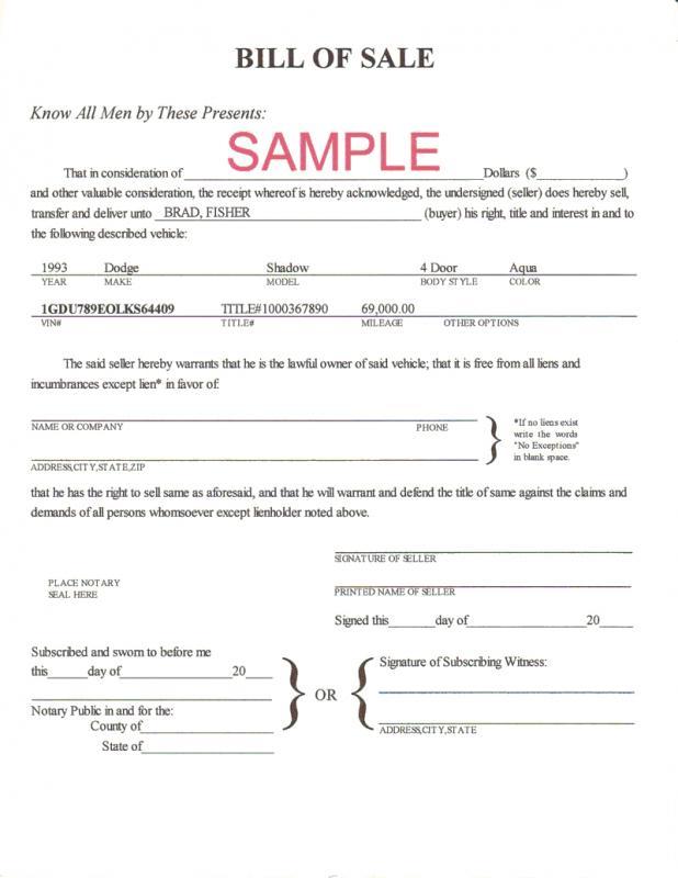 firearm bill of sale template