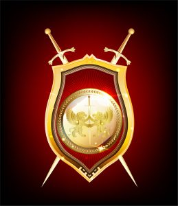flag banner templates golden shield and sword
