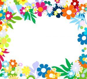 flag banner templates vector of spring fresh flower frame set
