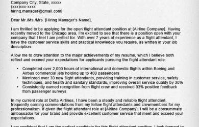 flight attendant cover letter flight attendant cover letter park