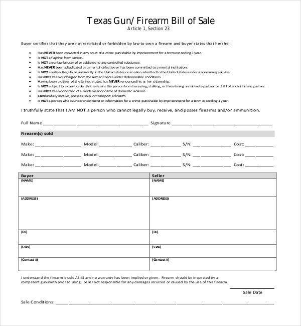 florida gun bill of sale