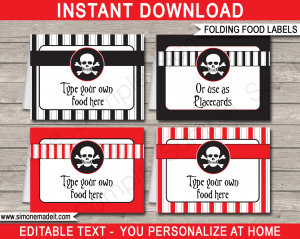 folding cards templates pirate food labels printable template