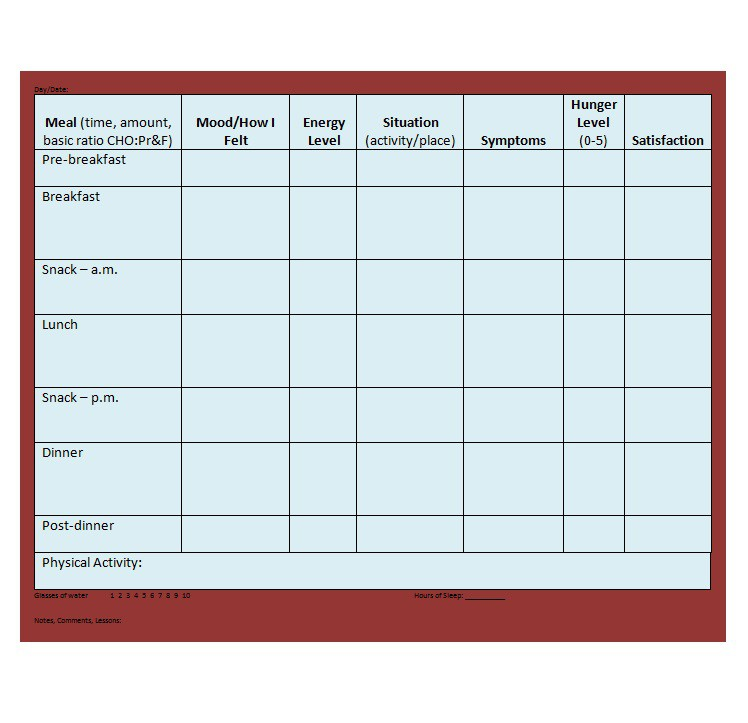 food diary template